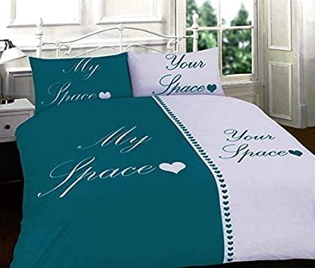 MY SPACE YOUR SPACE DUVET QUILT COVER BEDDING SET DOUBLE~KING  BLACK~TEAL~RED