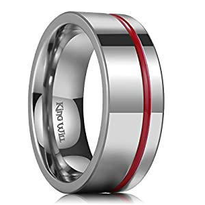 King Will Loop 5mm 8mm Thin Red/Blue/Wood Groove Silver Titanium Wedding Ring Band Pipe Cut Comfort Fit