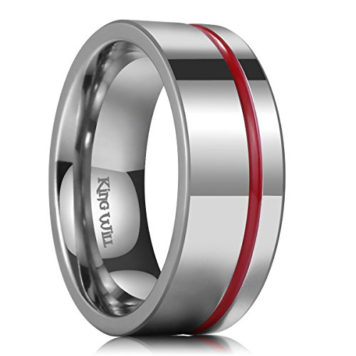 (King Will Loop 8mm Thin Red Groove Silver Titanium Wedding Ring Band Pipe Cut Comfort Fit 8.5)