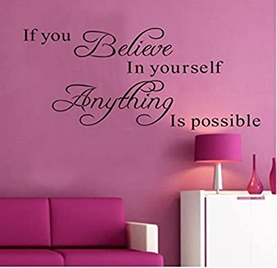 "Amaonm® Removable Vinyl Quotes Saying Dr Seuss ""If You Believe in Yourself, Anything Is Possible"" Inspirational Wall Stickers Decals Murals Home Art Decor for Kids Babys Bedroom Nursery Classroom"