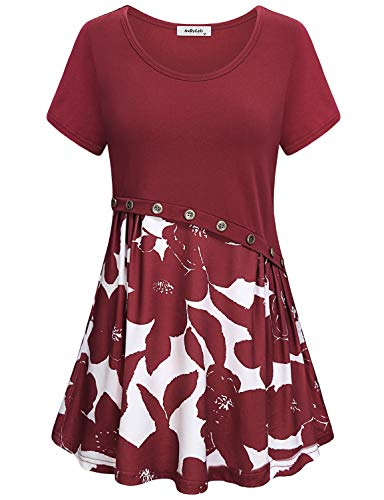 Flowy Tunic Tops for Women,Ladies Cute Short Sleeve Shirts Round Neck Floral Print Casual Midi Dresses Vintage Button Design Peasant Blouses Dressy Swing Hem Loose Fitted Comfy Petite Summer Red M