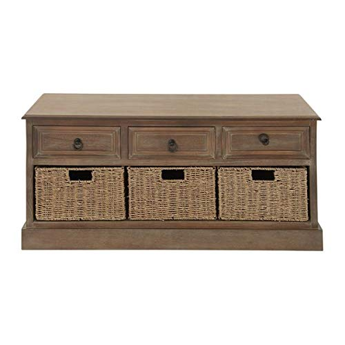 Rustic Wood Storage Drawer - 3 Drawer Storage Chest with Seagrass Wicker Baskets - Brown ()