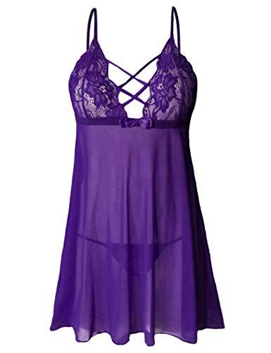 Dress Lace Doll Stretch Baby (wearella Women Lace Lingerie Set Strap Babydoll Mesh Chemise Mini Teddy Criss-Cross Nightwear Purple M)