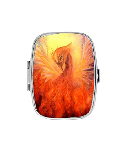 Fire Birth The Phoenix Custom Fashion Square Pill Box Medicine Tablet Holder Organizer - Square Fashion Phoenix