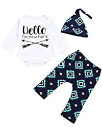 150c499fe88f Baby Layette Set Newborn Infant Baby Boy s Print Romper Tops+Long Pants  +Hat Cotton · Winsummer