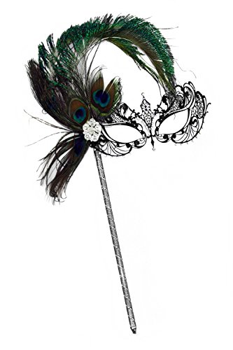Success Creations Corrine Laser-Cut Black Venetian Women's Masquerade Mask on a Stick w/Peacock -