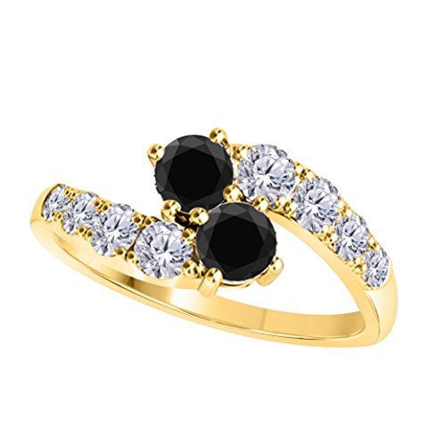 DS Jewels Forever US Two Stone Ring 14k Yellow Gold Plated Alloy 1.00 CT Round Cut Multi-Color CZ Wedding Engagement Rings Sizes 4-11