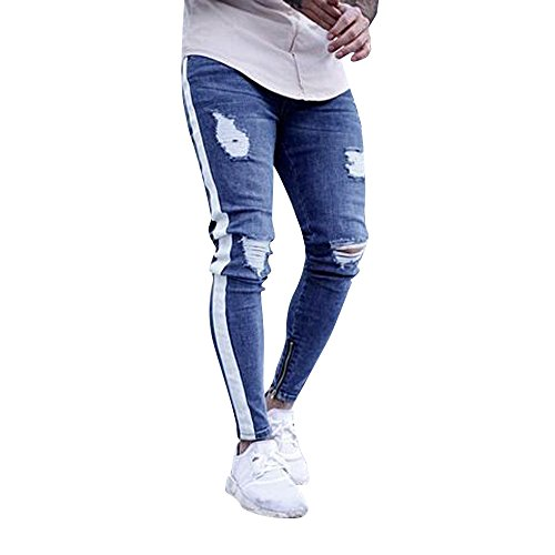 Men's Casual Denim Jeans Ripped Slim Fit Skinny Distressed Destroyed Side Striped Zipper Holes Pants (M, White)