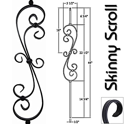 """1/2"""" Iron Baluster Skinny Scroll (5-Pack) Stair Parts Hollow Metal Spindles - Stair Railing Scroll Wrought Iron Balusters (Satin Black)"""