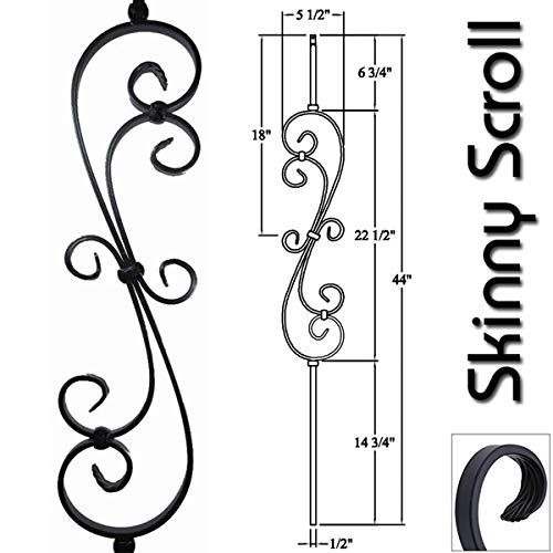 Stair Railing Iron Balusters (Pack of 5) Skinny Scroll Hollow Metal Spindles (Satin Black) 1/2