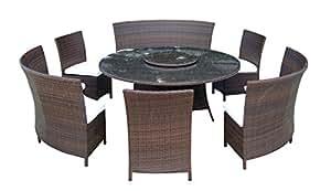 Baidani Sets de muebles de jardín muebles de salón de 10d00013.00002Designer Timeless, 1mesa con tablero de cristal, 3sillas, doble Plazas, passenden cojines, color marrón