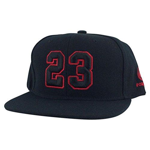 Player Jersey Number #23 X Air Jordan Color Snapback Hat Cap Heather Black/red Outline