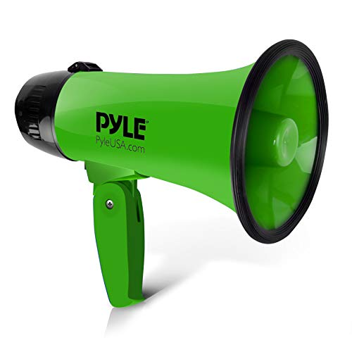 Portable Megaphone Speaker Siren Bullhorn - Compact and Battery Operated with 20 Watt Power, Microphone, 2 Modes, PA Sound and Foldable Handle for Cheerleading and Police Use - Pyle PMP22GR