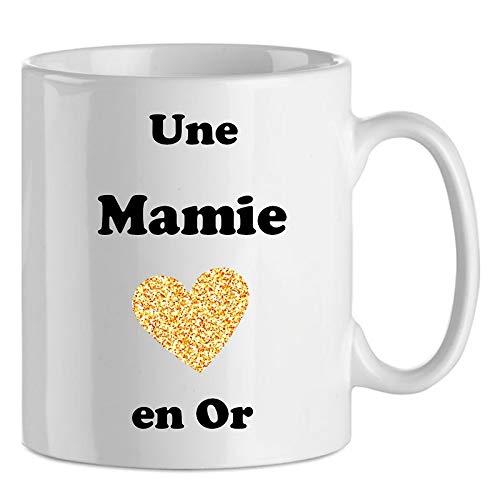 Mug Une Mamie en Or en céramique, idée cadeau Noël, Anniversaire