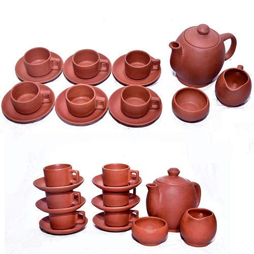 Odishabazaar Full Cup Set Handcrafted Terracotta Pottery Morning Coffee Chai (Tea) Kulhad/Kullar/Cups With Kettle Sugar Pot ()
