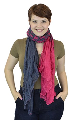 belle-donne-womens-fashion-ombre-watercolor-wash-crinkle-scarf-pink-charcoal-leaf-design