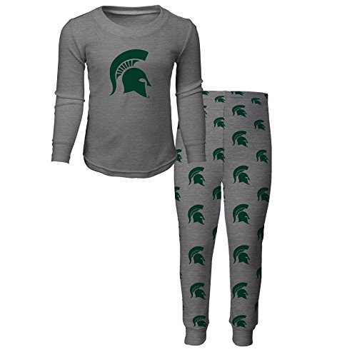 NCAA by Outerstuff NCAA Michigan State Spartans Kids Long Sleeve Tee & Pant Sleep Set, Heather Grey, Kids - Pants Michigan State