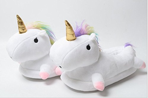 Unicorn Slipper Winter Warm Soft Plush Shoes for Home Indoor/Outdoor (White)
