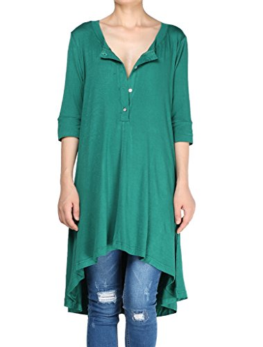 Mordenmiss Women's New Half Sleeve High Low Loose Tunic Tops Green-L