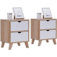 Giantex Set of 2 Nightstand with 2 Drawers End Table Storage Wood Cabinet Bedroom Side Table