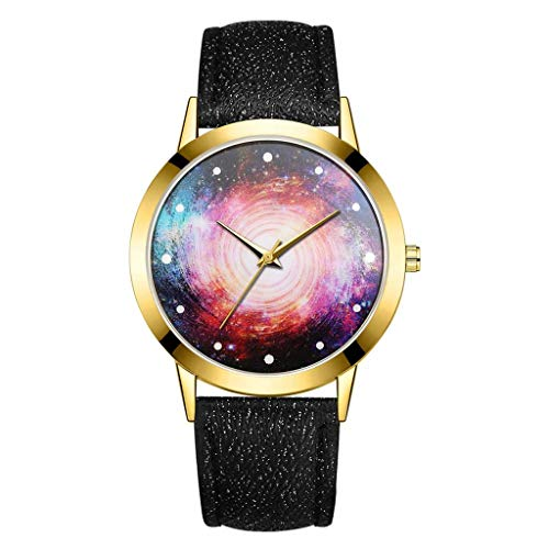 Euone Clearance Sales,Fashion Luxury Universe Black Hole Leather Belt Watch Ladies Quartz Watch