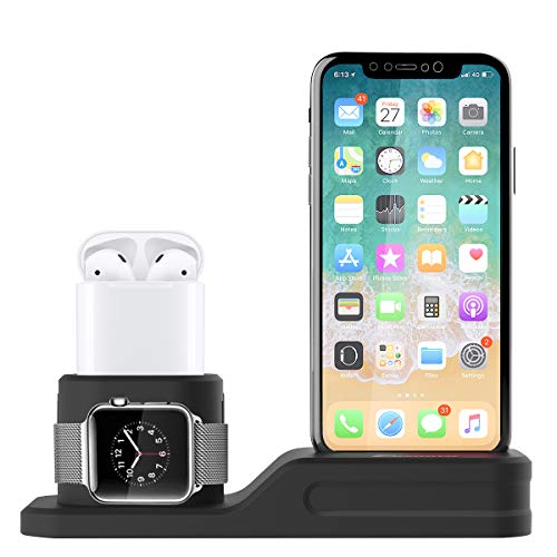 Foxnovo Apple Watch Stand, 3 in 1 Silicone Charger Dock Station for Apple Watch Series 3/2/1/AirPods/iPhone X/iPhone 8/8 Plus/7 Plus/6S, Ideal Decoration for Study, Hall, Bedroom, Office Desk