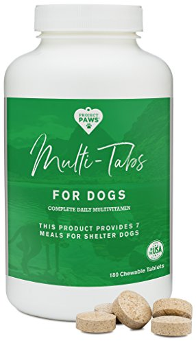 Project Paws Multi Tabs Plus Dog Vitamins - Chewable Multivitamin Pet Tablets for Dogs - 180 Count ()