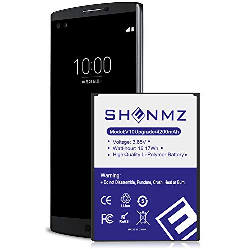 ([Upgraded] LG V10 Battery,4200mAh SHENMZ Replacement BL-45B1F Battery Li-Ion Battery for LG V10 BL-45B1F VS990 (Verizon), H900 (AT&T),H901(T-Mobile), H961N | LG V10 Spare Battery)