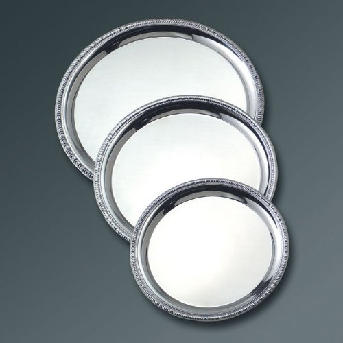 American Metalcraft SST12 Stainless Steel Round Non-Embossed Royal Touch Tray, 12-Inch