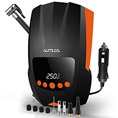 AUTSCA Air Compressor Tire Inflator for car with digital display, DC 12V 150PSI with Emergency LED Light, Auto Shut Off and the barometric pressure measurement function air pump for car: Home Improvement