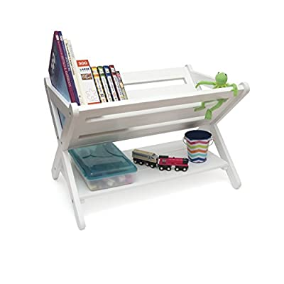 Lipper International Kids' Book Caddy with Shelf, White: Kitchen & Dining