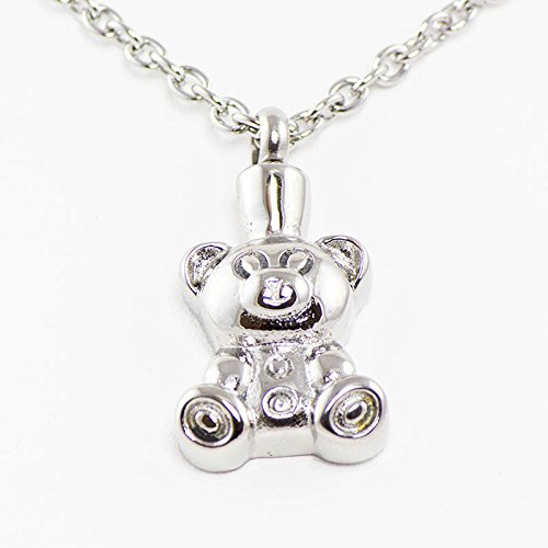 Stainless Steel Cremation Necklace - Holds 1 Cubic Inch of Ashes - Silver Teddy Bear - Engraving Sold Separately