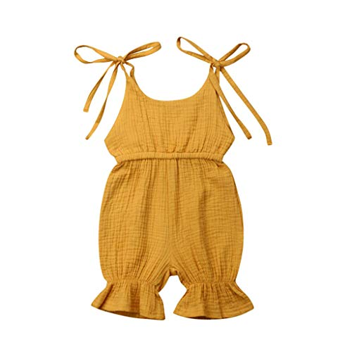 Sunsuit Woven - AHAYAKU Summer Baby Boys Girls Summer Solid Romper Bodysuit Jumpsuit Outfits Sunsuit Yellow