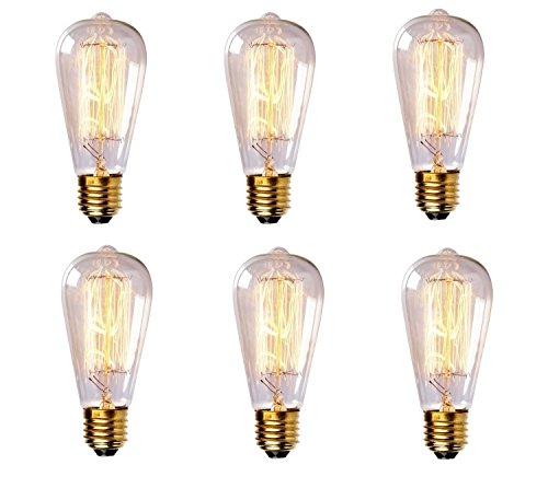 6-Pack Vintage Edison Filament Light Bulb - ST64 - Dimmable
