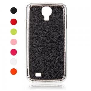 Electroplating Protective Case with Lichee Pattern for Samsung i9500 Black