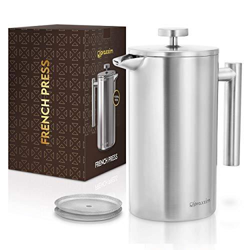 praxxim French Press – Cafetera de acero inoxidable de 1 l, resistente para el hogar, viajes, camping, prensa de café de…