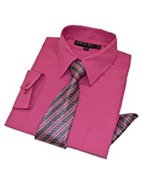Johnnie Lene Boys Long Sleeve Dress Shirt with Tie and Handkerchief