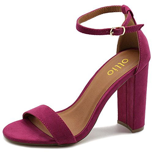 Ollio Womens Shoe Faux Suede Simple Ankle Strap Chunky High Heel Sandals MG33 (6 B(M) US, Berry)