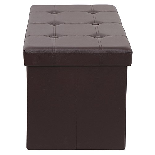 BBBuy Folding Storage Ottoman Coffee Table Foot Rest Stool, Faux Leather (Brown) by BBBuy (Image #3)