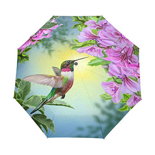 Golf Hummingbird (WXLIFE Flower Leaves Hummingbird Auto Folding Windproof Anti UV Umbrella Travel for Girls Kids Men)