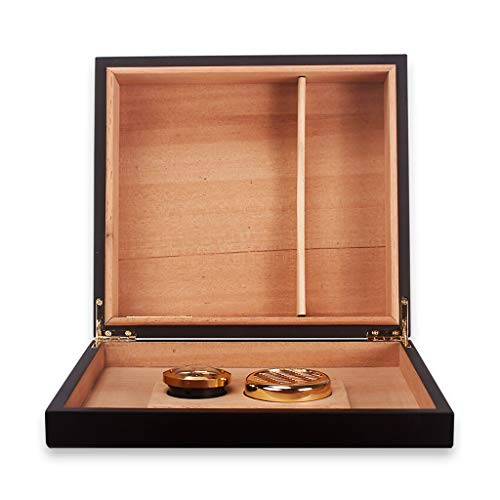 Portable cigar box Cigar Box, Cedar Wood Lined with Piano Paint Cigarette Case, Compact Cigar Cabinet, Can Hold 20 Cigars, Detachable Partition with Humidifier and Hygrometer Cigarette Case, Men's Gif by Ac498 (Image #3)