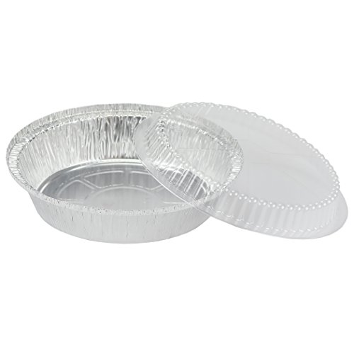 Simply Deliver 7-Inch Round Disposable Take-Out Pan with Dome Lid Set, 30 Gauge Aluminum, 200-Count