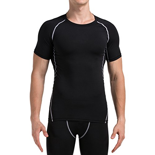 4ucycling Men Cool Quick Dry Baselayer Short Sleeve Compression T (Cool Fitted T-shirt)