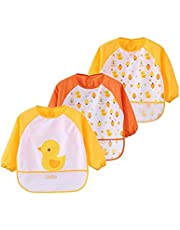 Toddler Baby Waterproof Apron Sleeved Bib, Bib with Sleeves&Pocket, 6-36 Months,Set of 3 Soft material Cute Animals Paintings have a meal