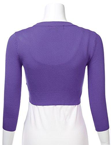 b5da7b0747d FLORIA Women's Solid Button Down 3/4 Sleeve Cropped Bolero Cardigan Sweater  (S-4X)