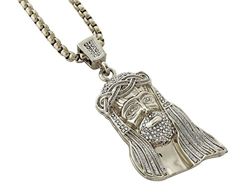 Iced Out 18k Gold Stainless Jesus Piece Pendant Necklace with 30