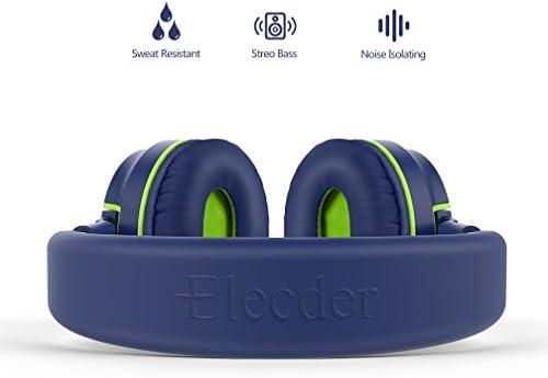Elecder i36 Kids Headphones Children Girls Boys Teens Foldable Adjustable On Ear Headphones 3.5mm Jack Compatible Cellphones Computer Kindle MP3/4 School Tablet Blue/Green