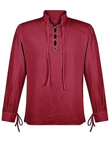 Makkrom Mens Medieval Pirate Costumes Lace up Long Sleeve Sleeveless Viking Mercenary Renaissance Scottish Cosplay Shirts -