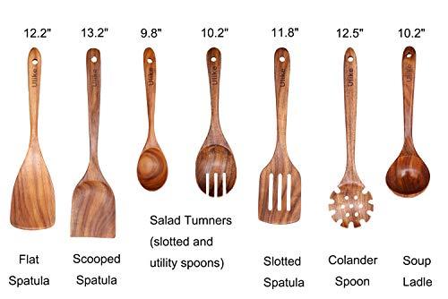 Wooden Utensil Set for Cooking, Kitchen Wood Spoons Set, 7 Pack Nonstick Cooking Utensils set
