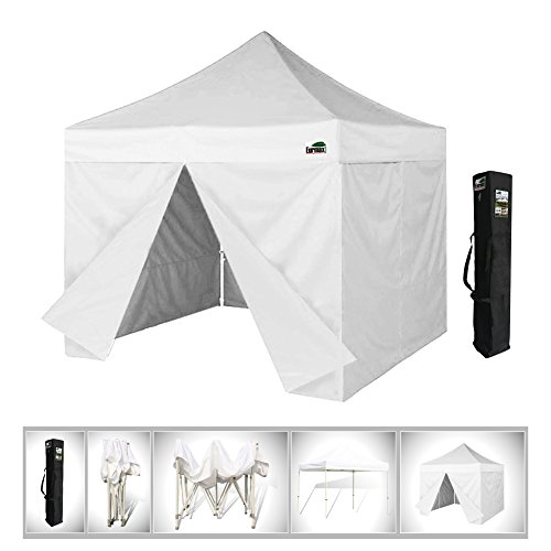 Eurmax 10x10 Ez Pop up 4 Wall Canopy, Party Tent, Fair Gazebo With 4 Zipped End Sidewalls and Carry Bag (White)